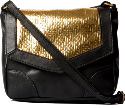 Desi Drama Queen Girls Casual Black PU Sling Bag