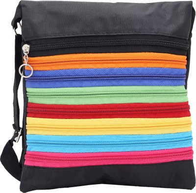 Globalgifts Women Casual Black Cotton Sling Bag