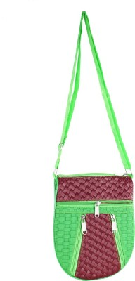 Mpkart Girls, Women Casual Maroon, Green Leatherette Sling Bag