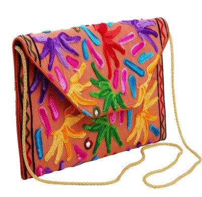 Mayra Handicrafts Girls Evening/Party Multicolor, Orange Cotton Sling Bag