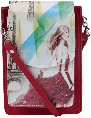 Coash Women Red PU Messenger Bag