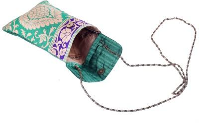 Angelfish Girls Casual Green Brocade Sling Bag