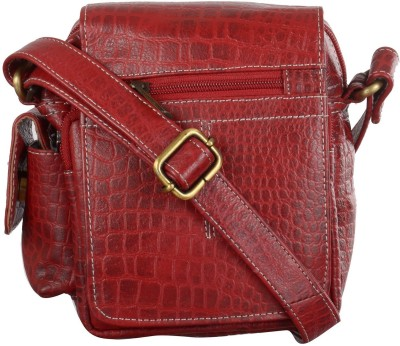 Bluwhale Men, Women Casual, Formal, Evening/Party Red Genuine Leather Sling Bag