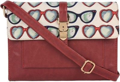 Berrypeckers Women Maroon PU Sling Bag