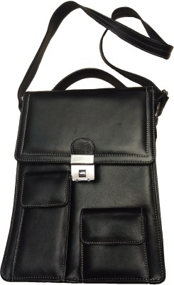 Leather Mall Men, Boys Formal, Casual Black Genuine Leather Sling Bag
