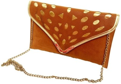 Craftbazaar Women Evening/Party Gold Leatherette Sling Bag