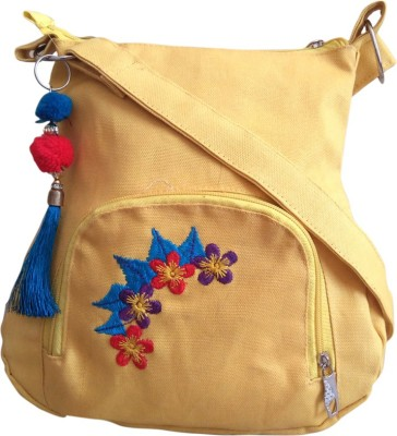 Fly Angels Women Yellow Canvas Sling Bag