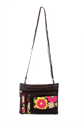 NFI Girls, Women Brown Leatherette Sling Bag