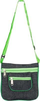 Glitters Girls Casual, Formal Black, Green Canvas Sling Bag