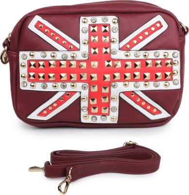 Star Style Women Maroon Leatherette Sling Bag