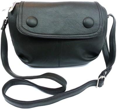 Leather Land Women, Girls Black Leatherette Sling Bag