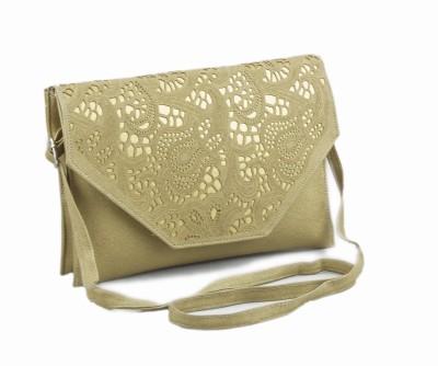 Voaka Women, Girls Gold Leatherette Sling Bag