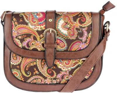 iva Women Brown Leatherette Sling Bag