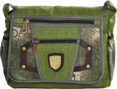 LeCobbs Men Green Canvas Sling Bag