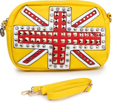 Star Style Women Yellow Leatherette Sling Bag