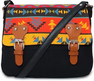 Lemon Trunk Women Multicolor, Black Canvas Sling Bag