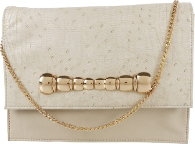 Berrypeckers Women Evening/Party Beige PU Sling Bag