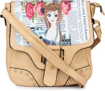 Star Style Women Beige PU Sling Bag