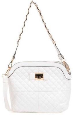 Home Union Women Casual White PU Sling Bag
