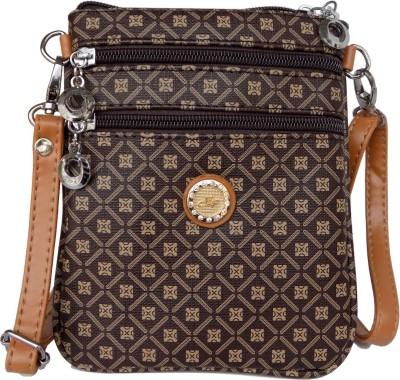 Czar Enterprises Girls, Women Brown Leatherette Sling Bag