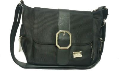 CRAVEFORIT Women Black PU Sling Bag