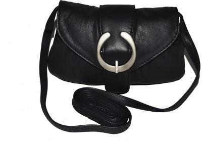 DHide Designs Women Black Genuine Leather Sling Bag