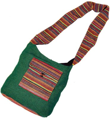 Little India Women Casual Green Jute Sling Bag