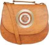SV Creations Women Tan PU Sling Bag