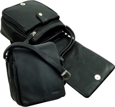 LandLeder Boys, Girls Black Genuine Leather Sling Bag