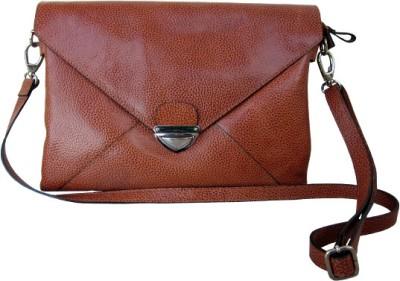 Imperus Women Tan Genuine Leather, Cotton Sling Bag