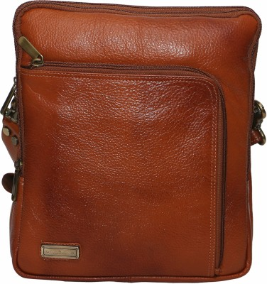 C Comfort Men, Boys, Girls, Women Tan Genuine Leather Sling Bag