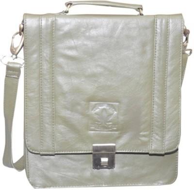 B-World Men Green Genuine Leather Sling Bag