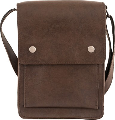 Unixx Women Casual Brown Genuine Leather Sling Bag