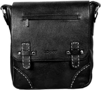 Scharf Men Black Genuine Leather Sling Bag