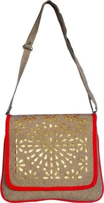 Kshipra Fashion Girls Brown, Red Leatherette Sling Bag