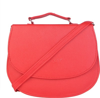 SkyWays Girls, Women Red Leatherette Sling Bag