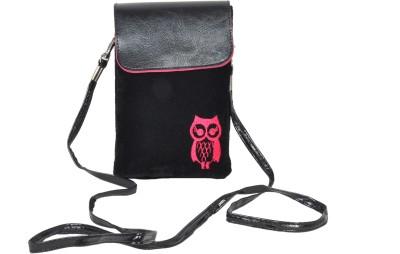 FabSeasons Women Casual Black Velvet Sling Bag