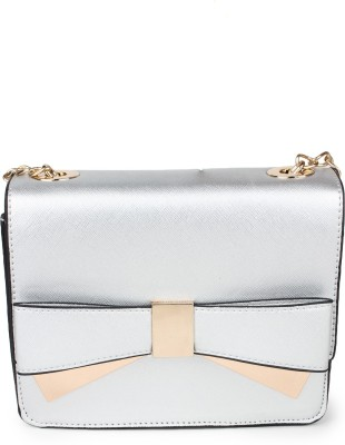 Amatra Women, Girls Evening/Party, Casual, Formal, Festive Silver Leatherette Sling Bag