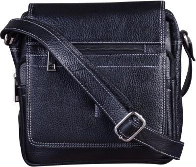 Bluwhale Men, Women Black Genuine Leather Sling Bag
