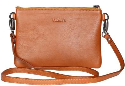 Viari Women Formal Tan Genuine Leather Sling Bag