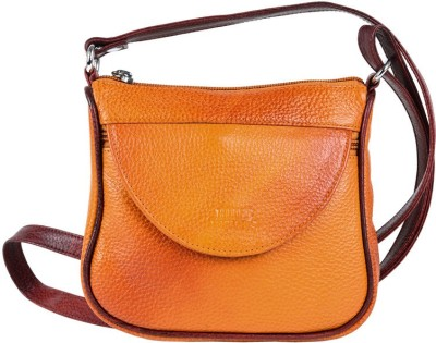 Hide Bulls Men, Women Orange Leatherette Sling Bag