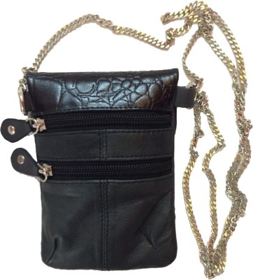 Tee Ess Girls, Women Evening/Party, Casual Black Genuine Leather Sling Bag