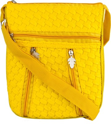 Glitters Girls Casual, Formal Yellow Rexine Sling Bag