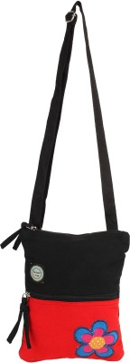Anekaant Girls, Women Casual Black, Red Canvas Sling Bag