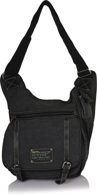 Suntop Men Black Cotton, Canvas Sling Bag