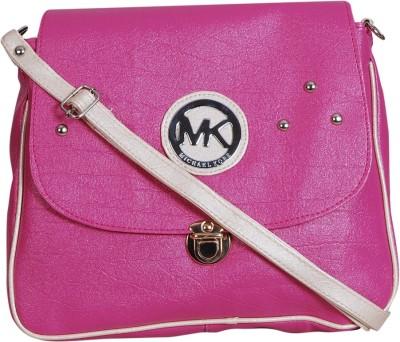 Triveni Women Pink Rexine Sling Bag