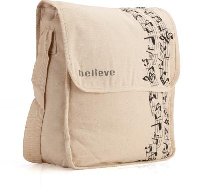 Believe Men & Women Beige Canvas Sling Bag