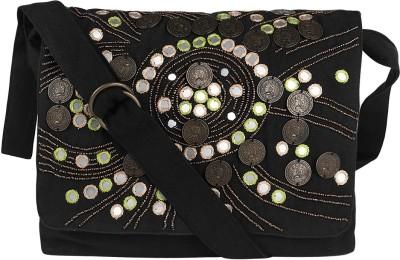 Nandeetas Women Black Cotton, Canvas Sling Bag