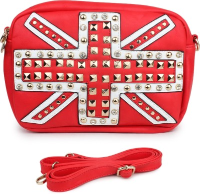 Star Style Women Red PU Sling Bag