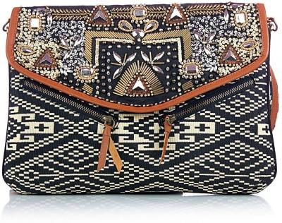 Shaun Design Women, Girls Beige, Black Cotton Sling Bag